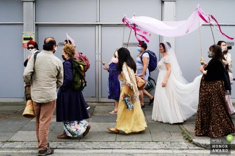 Photographie de mariage d'une rue au nord de Londres, Royaume-Uni
