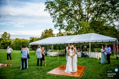 Image from a Socially Distanced First Dance at a Backyard Wedding in Northern Virginia Reception