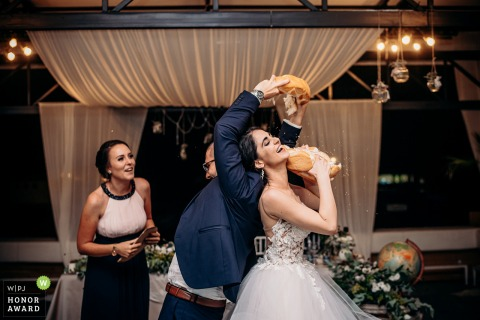 Bulgaria wedding reception photo showing the breaking of bread and Dupnitsa Supremacy