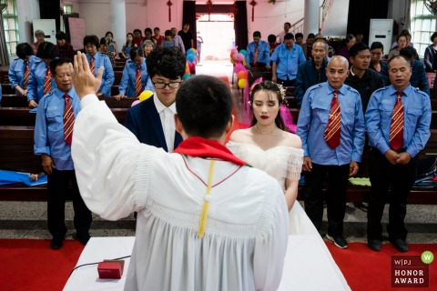 Zhejiang wedding photo from inside the China Churchduring the Wedding ceremony