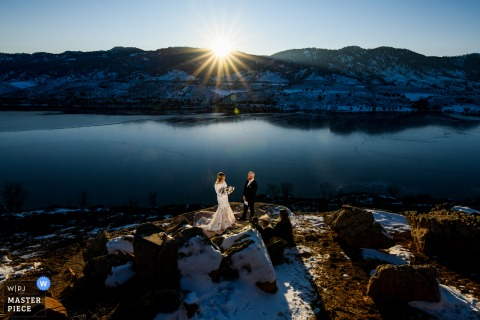 Bride and groom share their vows during their small elopement in Colorado
