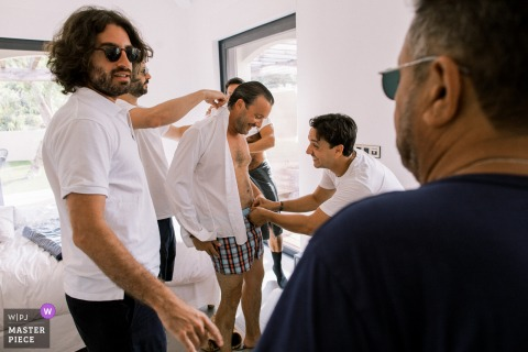 The groom and his friends during the preparation in Saint Tropez