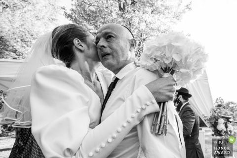 Hautes-Pyrenees wedding photo created After ceremony of the Bride and her uncle with emotion