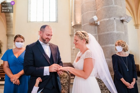 Wedding photo from the venue church - bretagne saint-brieuc-le comptoir of the exchange of alliances