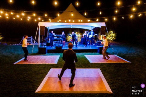 Designs by Sundown, Littleton, CO COVID dance floors for single use dancing at a wedding reception