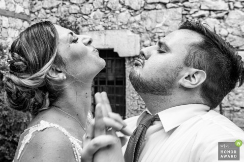Villa Antonio in Taormina wedding image of the bride and groom dancing face to face speaking to one another in their intimate language