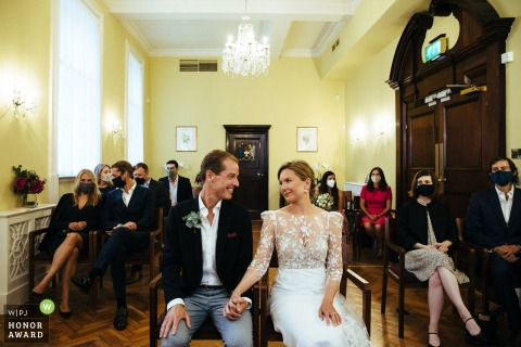 Chelsea Town Hall ceremony image capturing the bride and groom giving each other a loving look