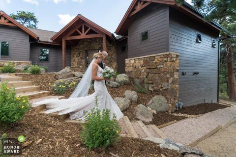 Denver, Colorado Wedding Photographer captured this bride and dad going to the backyard ceremony