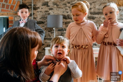 Wedding photography from Segrave Barns Ireland of the kids all Getting ready
