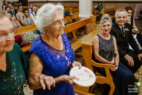 Wedding image from the Parish Church of Feliz, RS as Mother of the Bride is Thrilled to see her mother entering with the rings