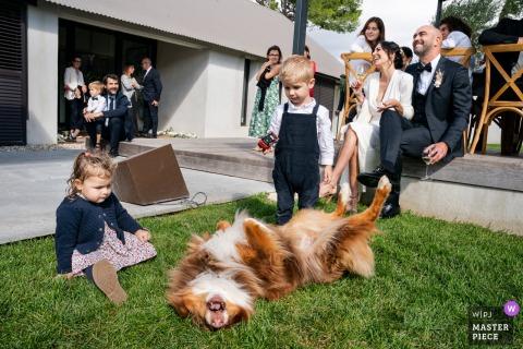Montpellier, France image de réception de mariage d'enfants, chien en riant et le couple lors d'un discours