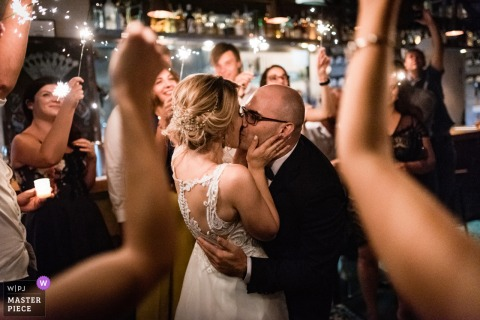 Bulgaria wedding photography from a Sofia Raketa Rakia Bar showing the The wedding dance
