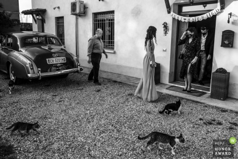 Italy wedding photo from the House of the spouses in San Benedetto Po, Mantua as The bride asks everyone to go out to be completely alone. I am looking for an image that documents the guests' loss and the passing of time