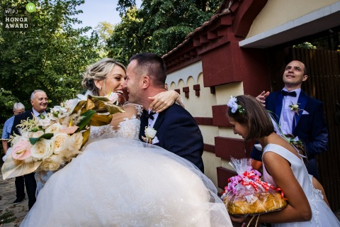 Sofia outdoor wedding photo from a Bulgaria event as the newlyweds leave the church