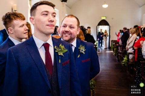 Ireland wedding reportage photography from BrookLodge Hotel, Wicklow showing the Groom and groomsmen as bride arrives