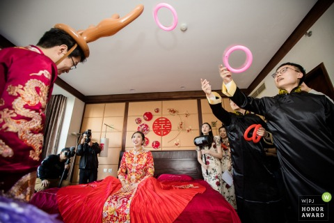 Beijing, China wedding photography of the gate crashing games