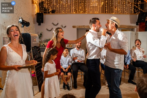 A Vlaams Brabant wedding photographer captured this Ferme De Bouchemont, France party craziness