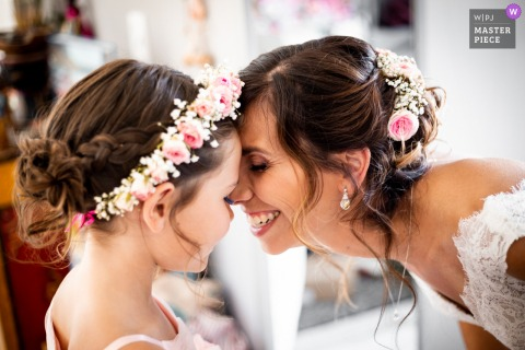 Wedding photo from the Bride's home, before the ceremony, Albi South of France as The bride and her daughter just finished to get ready