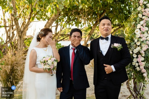 Asia wedding photo from a garden Vietnam Ceremony Location with tears of happiness