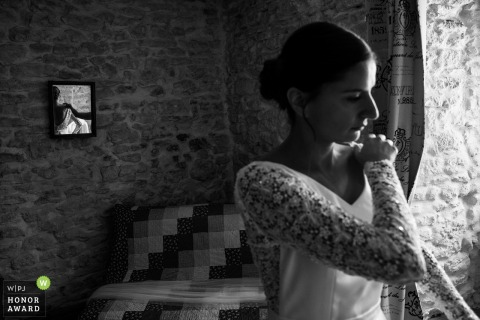 Vosges wedding photography from Chateau de Morey	showing Bride is getting ready just before the ceremony