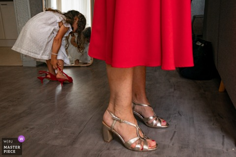 France getting ready wedding photo in Paris	of a girls shoe dilemma