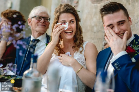 Netherlands Reception Venue wedding photo showing the couple have tears at speeches
