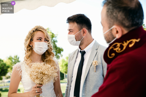 Istanbul wedding photo showing smiling faces despite the masks