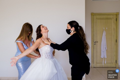 Dubai home wedding photo of the bride Enjoying the pampering
