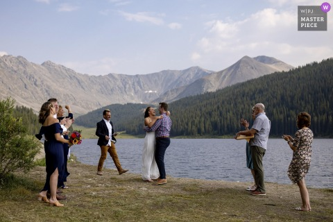Clinton Gulch Dam Reservoir wedding photography of reactions during an outdoor ceremony