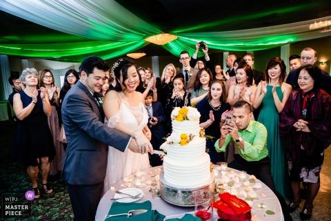 Virginia Cerimonia foto del matrimonio del taglio della torta con gli ospiti