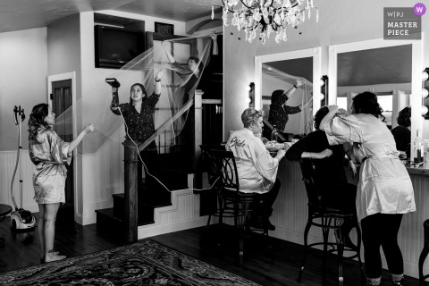 A wedding photographer in Colorado created this image in BW of the Bridal prep rooms