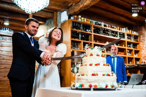 A top Bulgaria wedding photographer at Chateau Copsa captured this picture ofCake cutting with a large sword