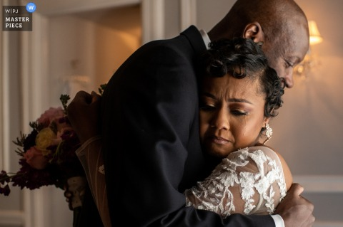 A top wedding photographer in Maryland captured this picture ofthe first look between dad and bride