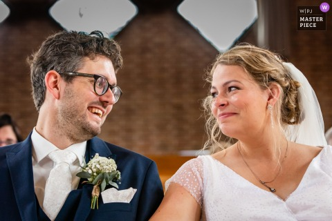 A Netherlands wedding reportage photographer in Maassluis created this image ofTears during ceremony