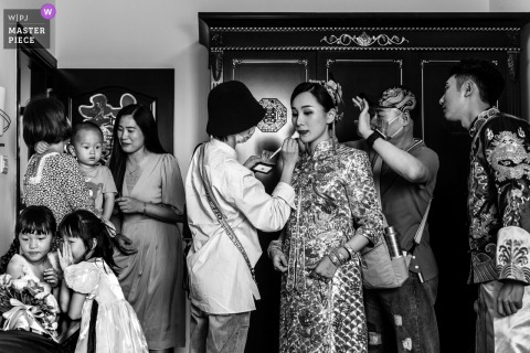 A wedding photographer in Guangdong created this image ofThe brides makeup applied in BW