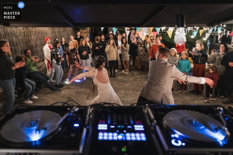 Quiberon, France wedding photography showing the festive  First dance for bride and groom