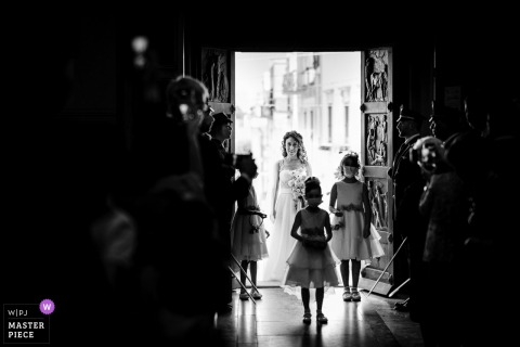 Apulia, Italy indoor marriage ceremony award-winning image showing the entrance of the bride