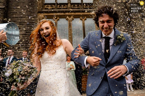 Lancashire  nuptial day award-winning image of a Confetti overload. The world's best wedding photography competitions are hosted by the WPJA