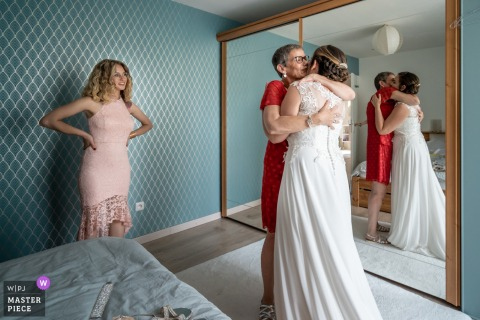France marriage preparation time award-winning picture capturing the First look by mother after the bride got ready