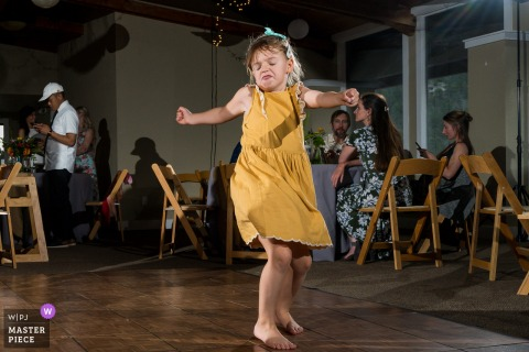 Colorado indoor wedding reception party award-winning picture showing the Dance floor intensity. The world's most skilled wedding photographers are members of the WPJA