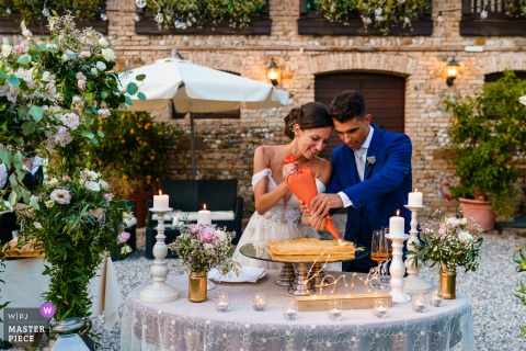 Paradiso, Pocenia, Udine marriage reception party award-winning photo that has recorded the Bride and groom setting the cake - from the world's best wedding photography competitions offered by the WPJA