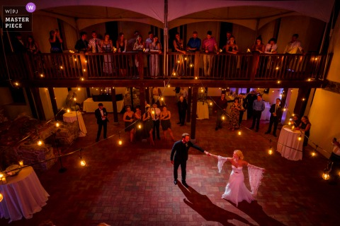 Patapsco Female Institute, Ellicott City marriage reception party award-winning photo that has recorded The MD couple sharing their first dance - from the world's best wedding photography competitions offered by the WPJA