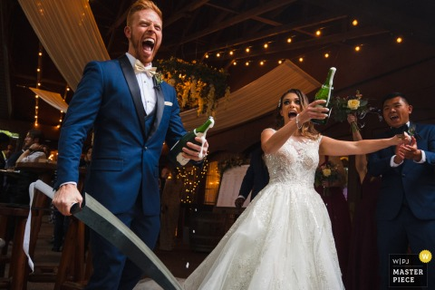 Blue Bridge Event Centre, Grawn, Michigan marriage reception party award-winning photo that has recorded the Bride and groom elated after popping champaign with large sabers - from the world's best wedding photography competitions offered by the WPJA