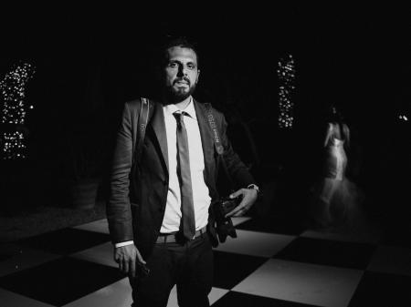 BW portrait of wedding and elopement photographer Pietro Tonnicodi