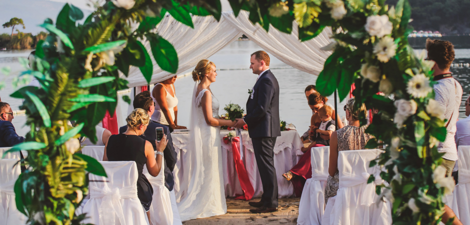 Sugar Beach Club, Oludeniz, Fethiye, Turkey Outdoor Wedding Ceremony by the Beach