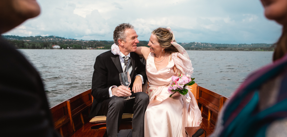 Lake Varese, Italy Wedding Photography in a boat by Alessandro Arena
