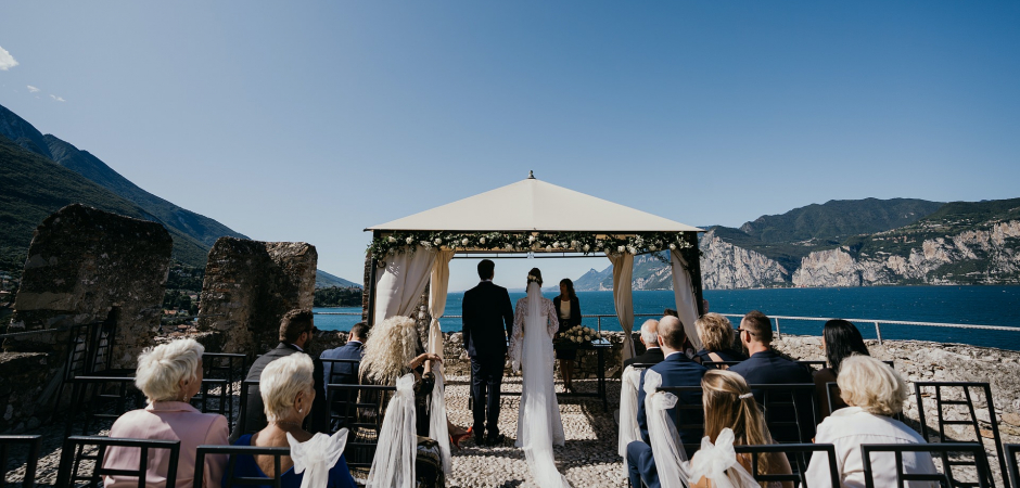 Italy Outdoor Wedding Ceremony Photo from the lake by Valeria Berti