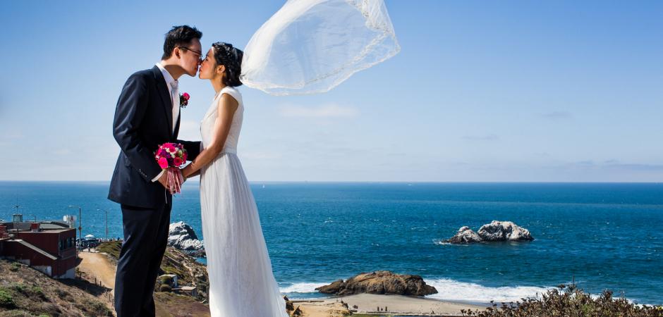 Park beach retrato en Sutro Heights Park, San Francisco Fotógrafo de bodas Chris Shum