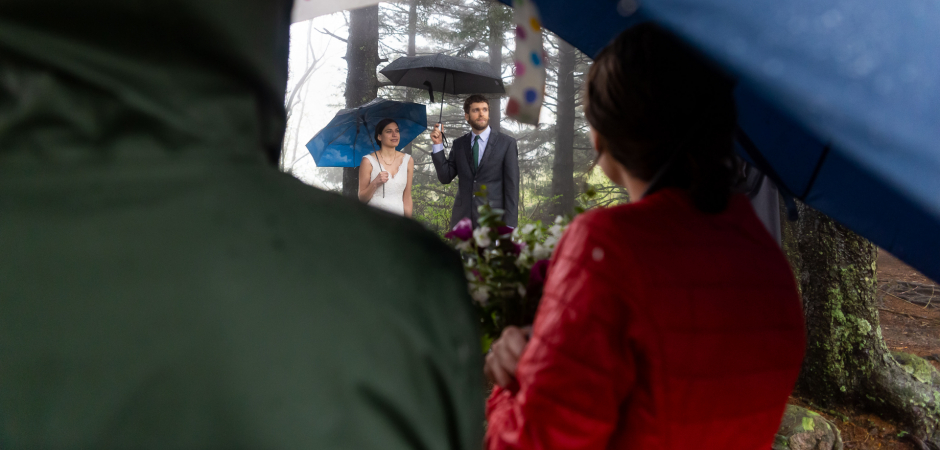 A photo from the rain at Black Balsam Knob, NC during a Wedding Ceremony