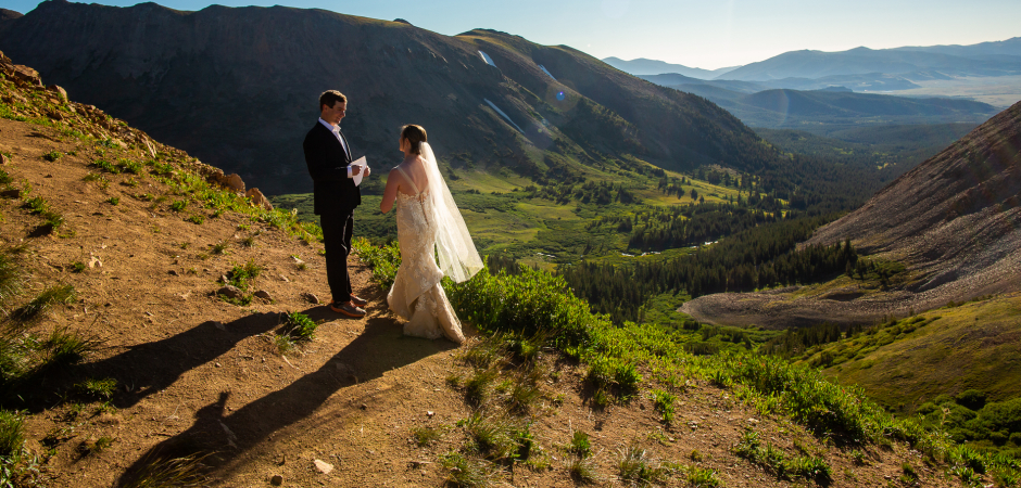 Boreas Pass CO Adventure sunrise wedding ceremony image by Lucy Schultz